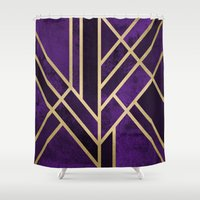 art deco Shower Curtains featuring Art Deco Royal by Elisabeth Fredriksson