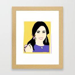 Knock Knock! Mina Yellow Framed Art Print