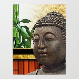 Buddha Head & Bamboo Gold Metallic Collage Poster