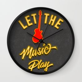 Neon Let the Music Play Wall Clock