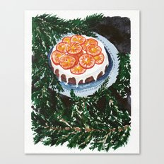Watercolor Tangerine Cake Canvas Print