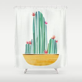 Tiny Cactus Blossoms Shower Curtain
