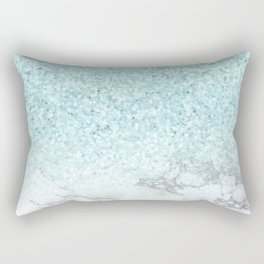 She Sparkles Turquoise Marble Luxe Geometric Rectangular Pillow
