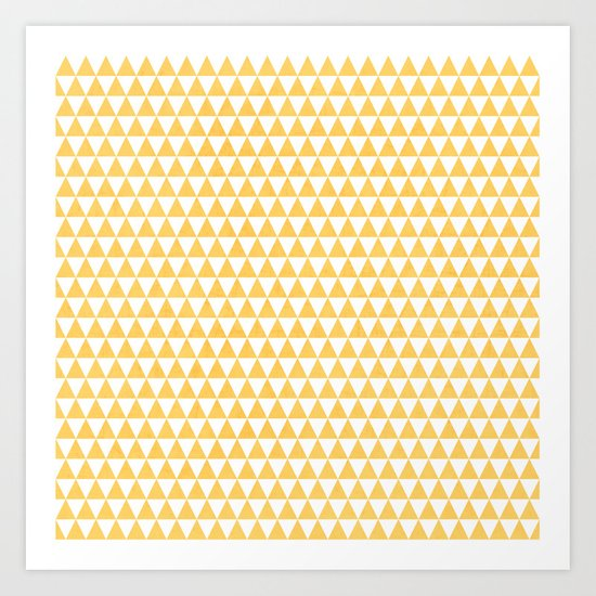 triangles - yellow and white Art Print
