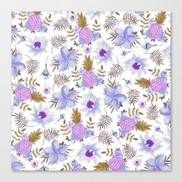 Modern lavender brown watercolor summer fruit floral Canvas Print
