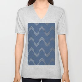 Simply Deconstructed Chevron White Gold Sands  on Aegean Blue Unisex V-Neck