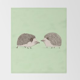 Two Hedgehogs Throw Blanket