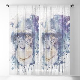 Watercolor Chimpanzee Sheer Curtain