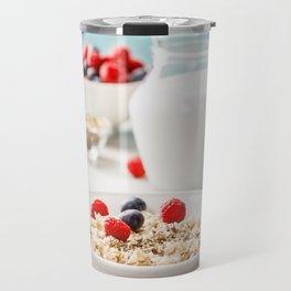 Oatmeal porridge with fresh berries and almond milk Travel Mug