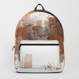Brown Miami watercolor skyline design Backpack