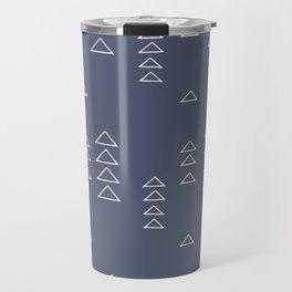 Modern Minimalist Triangle Pattern in Slate Blue Travel Mug