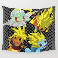 dragon ball z Wall Tapestries featuring Poke-Ball Z by Arqhfredo