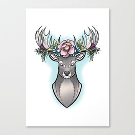 Floral Stag Canvas Print