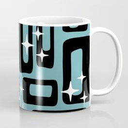 Retro Mid Century Modern Abstract Pattern 677 Black Turquoise Coffee Mug
