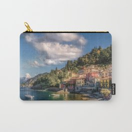 Italy Varenna Como Lake Coast Marinas Motorboat Houses Cities Pier Berth speedboat powerboat Building Carry-All Pouch