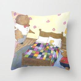 Goldilocks Caught Sleeping Throw Pillow
