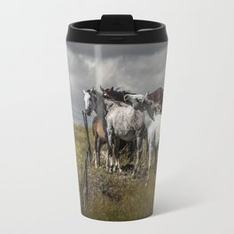 Western Horses by the Pasture Fence under a Cloudy Sky in Montana Travel Mug