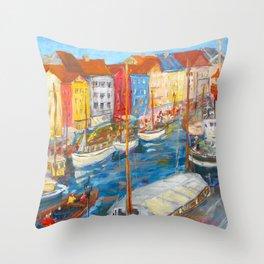 New Harbor, Copenhagen Throw Pillow