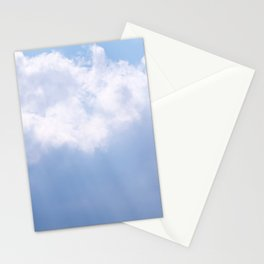 Blue Sky and White Clouds with Light Beams Photography Stationery Cards