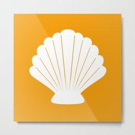 Seashell (White & Orange) Metal Print