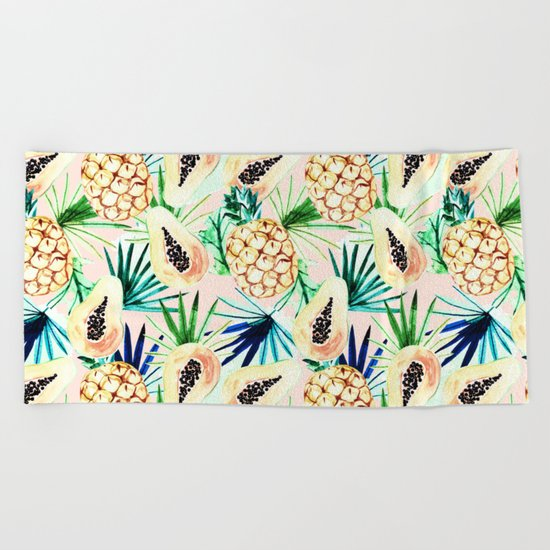 Pattern of tropical fruit and plants I Beach Towel