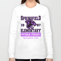 simpsons Long Sleeve T-shirts featuring Springfield Elementary Pumas  |  Simpsons by Silvio Ledbetter