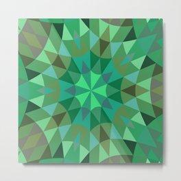 Green Retro Geometry Metal Print