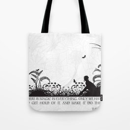 Secret Garden Black and White Illustrated Quote Tote Bag