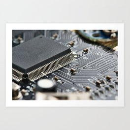 Elements of electronic circuit board Art Print