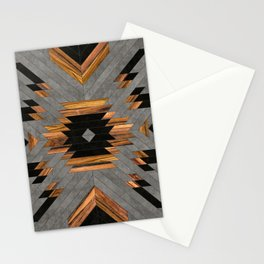Urban Tribal Pattern No.6 - Aztec - Concrete and Wood Stationery Cards