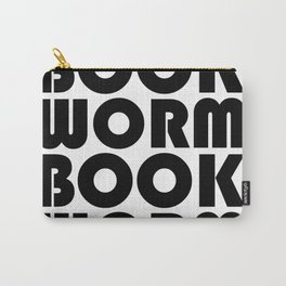 Bookworm - Black and White Typography Print Carry-All Pouch