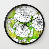 peonies Wall Clocks featuring Peonies by Dheiuk