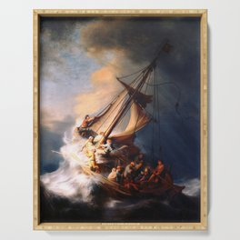 The Storm On The Sea Of Galilee Painting By Rembrandt Serving Tray