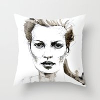 kate moss Throw Pillows featuring Kate Moss by Anastasia Efthias