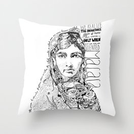 Words of Malala Throw Pillow
