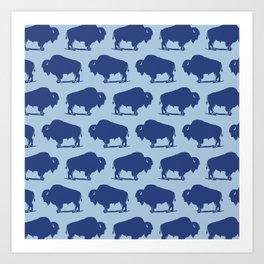 Buffalo Bison Pattern 274 Indigo Blue Art Print