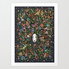 Kaonashi no-face christmas Art Print