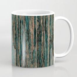 Teal and Metallic Rose Gold Marble Stripes Coffee Mug