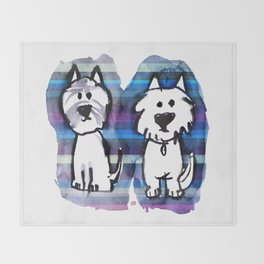 Two very serious Westies Throw Blanket