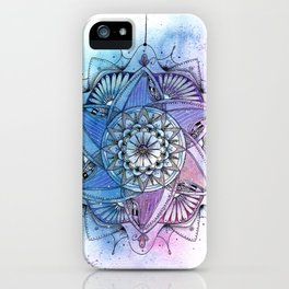 Purple Mandala Ink and Watercolor Art iPhone Case