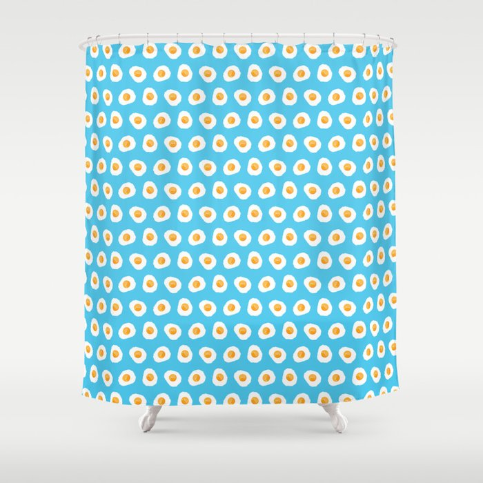 Crazy for fried eggs blue Shower Curtain