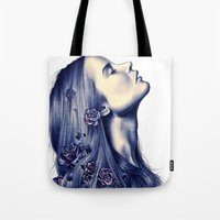 portrait Tote Bags featuring Bloom by KatePowellArt