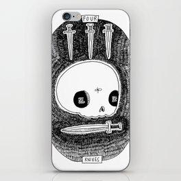 Four of Knives Skeleton Tarot iPhone Skin