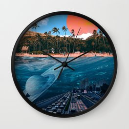 2 Worlds - Underwater World - Beach Digital Collage Artwork Wall Clock