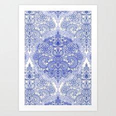 Happy Place Doodle in Cornflower Blue, White & Grey Art Print