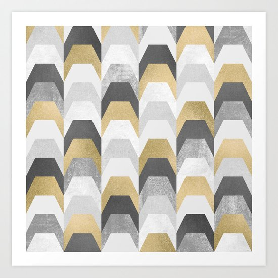 Stacks of Gold and Grey Art Print