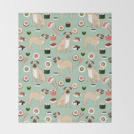 Pug sushi pattern dog breed cute pet art pet friendly gifts pugs Throw Blanket