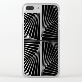 Rotating silver squares Clear iPhone Case