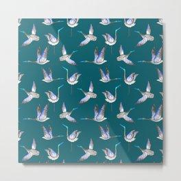 Dark blue crane pattern Metal Print