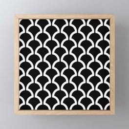 Classic Fan or Scallop Pattern 437 Black and white Framed Mini Art Print